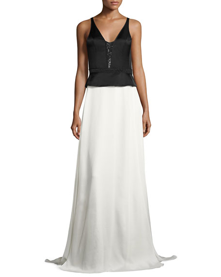 Two-Tone Satin Sequined Peplum Gown