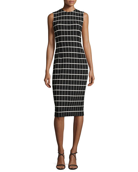 Windowpane Jacquard Sleeveless Sheath Dress, Black/White