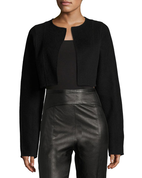 Narciso Rodriguez Contour-Yoke Leather Straight-Leg Pants and