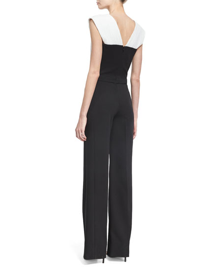 Plunging V Plisse-Paneled Wide-Leg Jumpsuit, Black/White