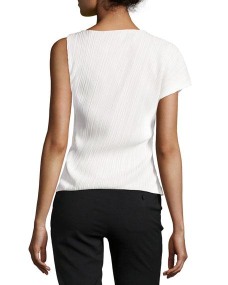 One-Sleeve Asymmetric Plissé Top