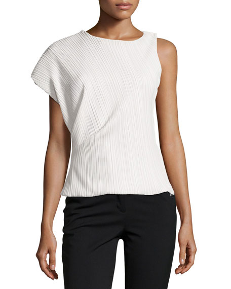 One-Sleeve Asymmetric Plisse Top