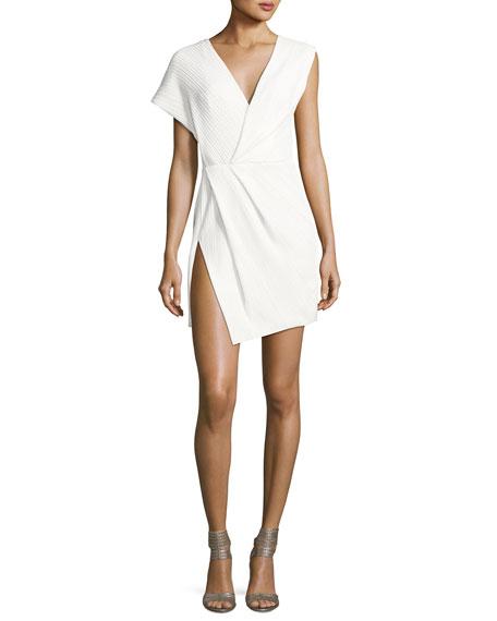 Asymmetric Plisse V-Neck Minidress, Off White