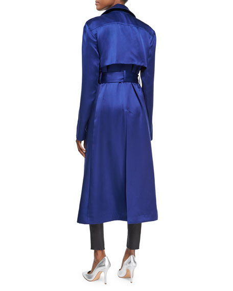Belted Silk Satin Trench Coat, Blue