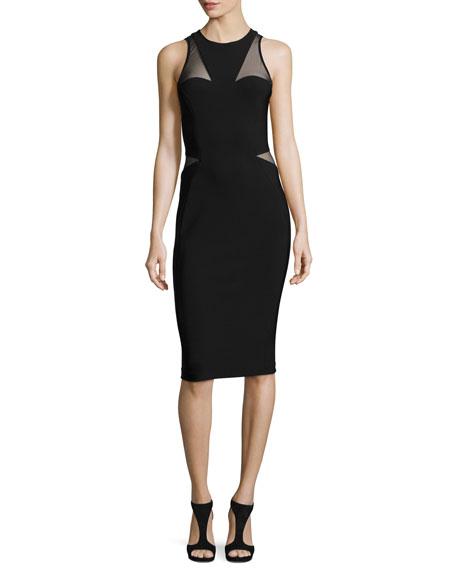 Thierry Mugler Sleeveless Tulle-Inset Sheath Dress