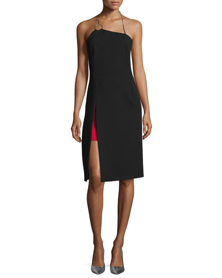 Asymmetric Chain Halter Dress