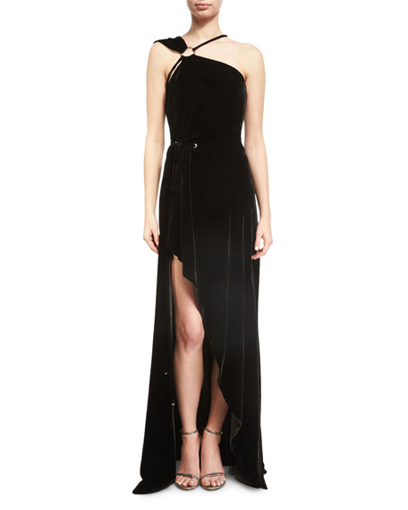 One-Shoulder Velvet High-Low Gown, Black