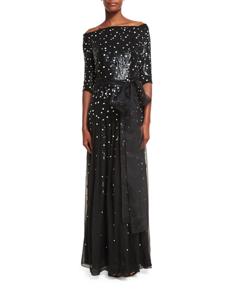 Carolina Herrera Off-the-Shoulder Dot-Sequined Chiffon Gown
