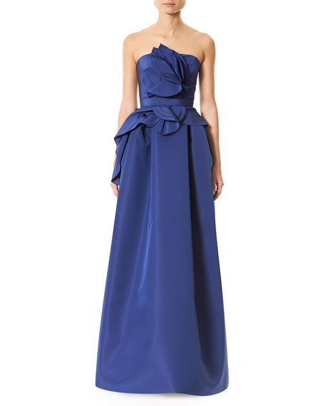 Carolina Herrera Strapless Silk Faille Ruffle-Front Gown, Blue