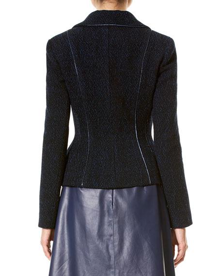 Wool-Blend Jacket w/Metallic Piping, Black/Blue