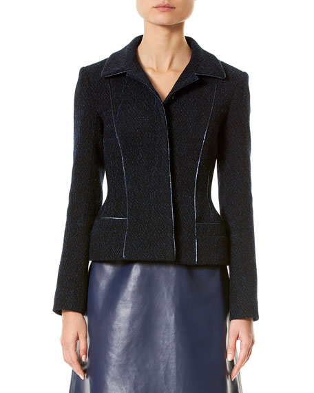 Carolina Herrera Wool-Blend Jacket w/Metallic Piping, Black/Blue