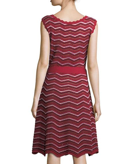 Sleeveless Knit Wave-Striped Midi Dress