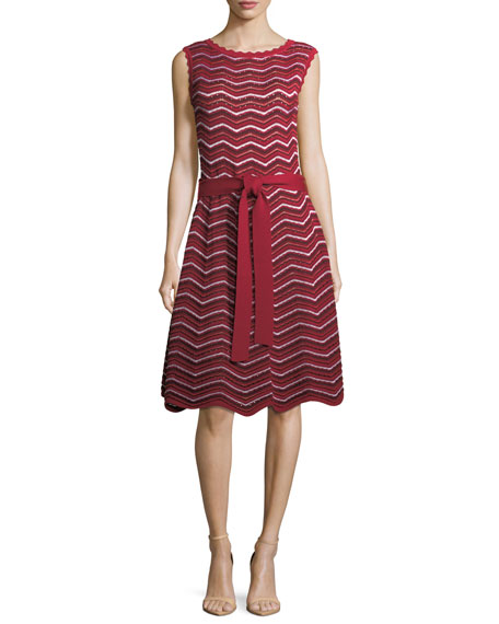Carolina Herrera Sleeveless Knit Wave-Striped Midi Dress