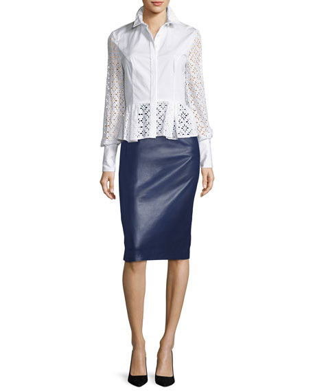 Leather Pencil Skirt, Navy