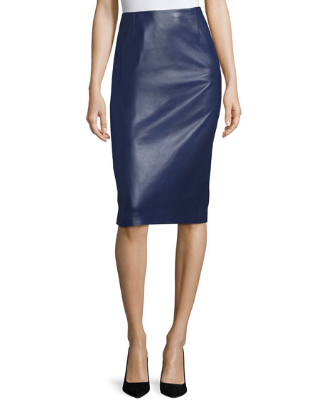 Carolina Herrera Leather Pencil Skirt, Navy