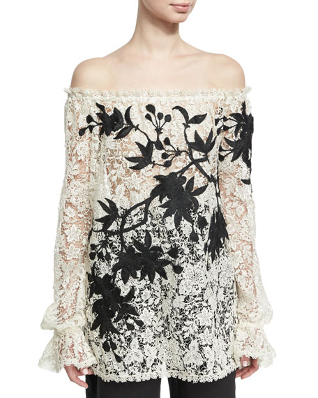Naeem Khan Off-the-Shoulder Embroidered Floral Lace Top,