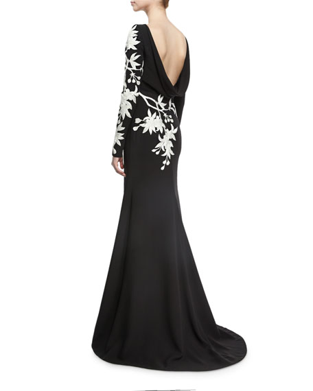 Floral-Embroidered Long-Sleeve Gown, Black/White