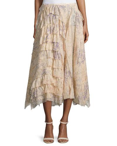Asymmetric Ruffle A-Line Skirt, Nude