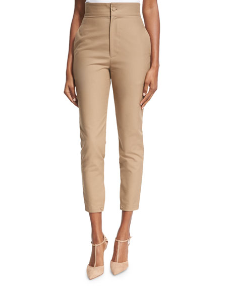 Co High-Waist Sailor-Button Cropped Skinny Pants, Camel and
