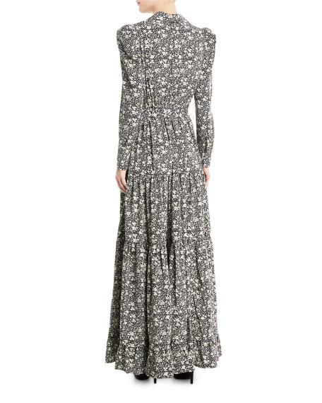 Floral Cr&#234pe de Chine Maxi Dress, Black/White