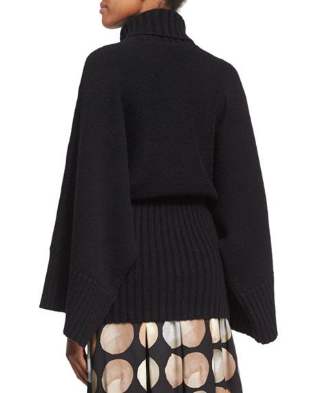 Bell-Sleeve Turtleneck Sweater with Wide Hem