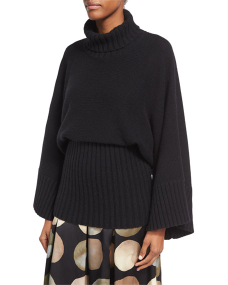 Co Bell-Sleeve Turtleneck Sweater with Wide Hem and