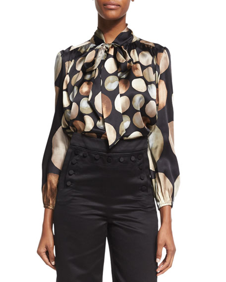 Co Lunar-Print Satin Tie-Neck Blouse, Black