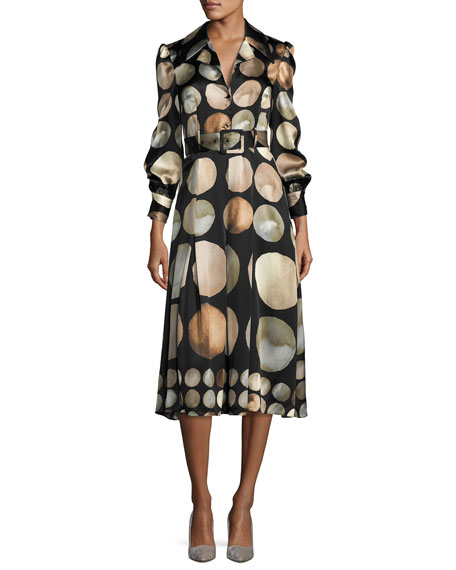 Lunar-Print Satin Shirtdress, Black