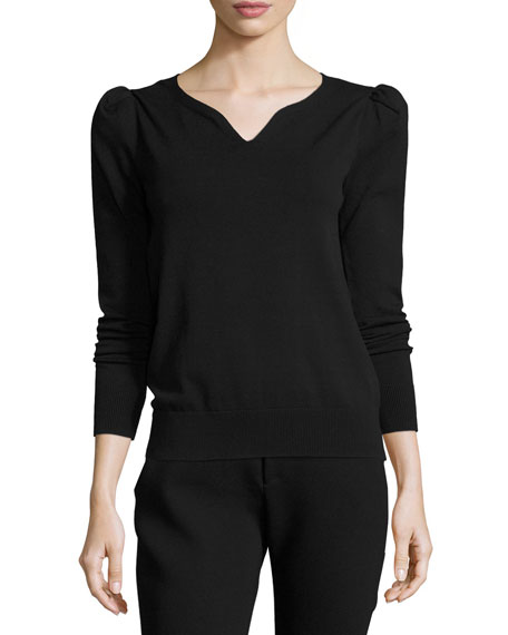 Puffed-Sleeve Sweetheart Sweater, Black