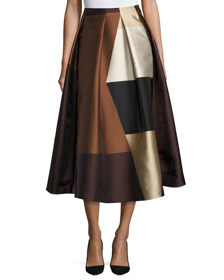 Geometric Colorblock Pleated Midi Skirt, Brown