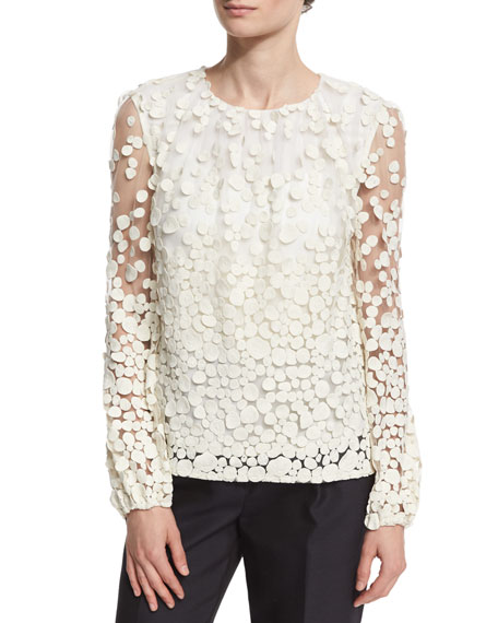 Long-Sleeve Pebble Lace Blouse, Ivory