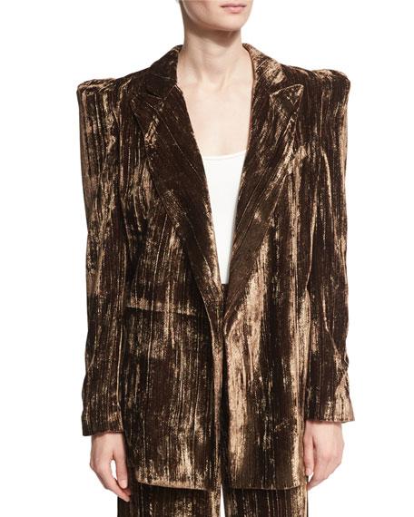 Long Metallic Crinkle-Velvet Blazer, Brown