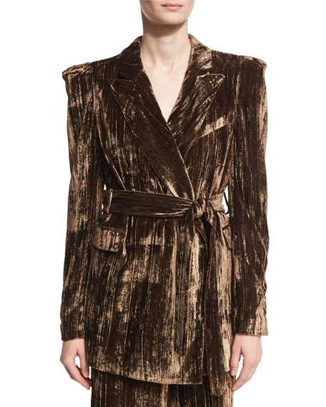 Co Long Metallic Crinkle-Velvet Blazer, Brown and Matching