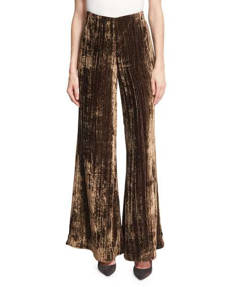 Metallic Crinkle-Velvet Palazzo Pants, Brown