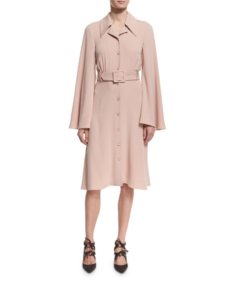 Bell-Sleeve Belted Crepe Shirtdress, BLACK OR BLUSH