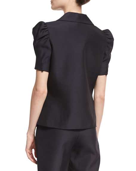 Puffed-Sleeve Wide-Collar Shirt, Black
