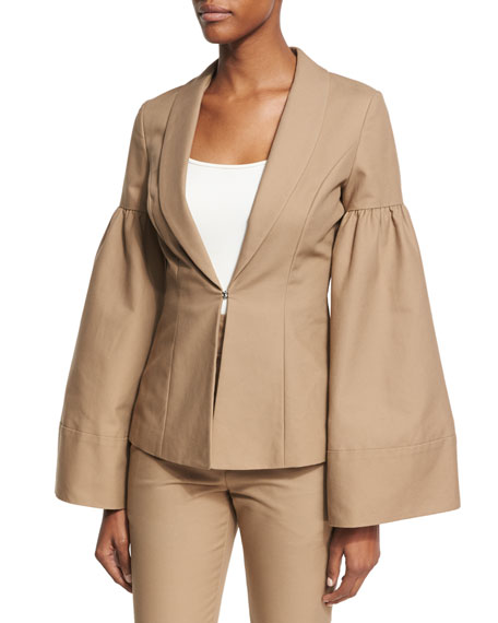 Bell-Sleeve Shawl-Collar Jacket, Camel