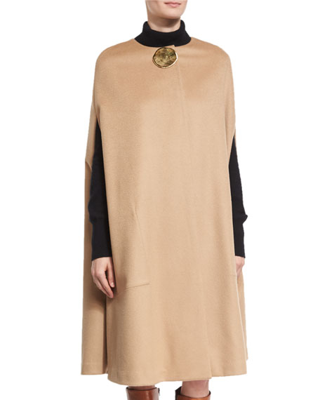 Textured Flannel Cape with Lunar Embellishment, Camel