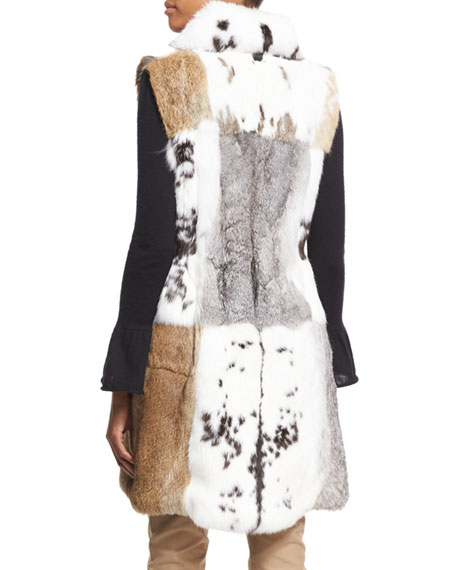 Long Patchwork Rabbit Fur Vest, White