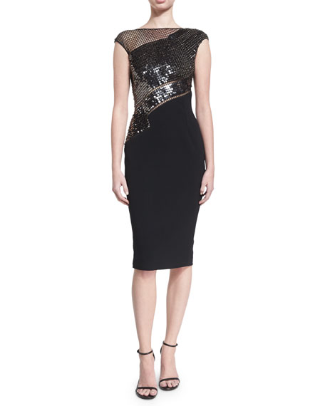 Pamella Roland Beaded Grid Cap-Sleeve Cocktail Dress, Black