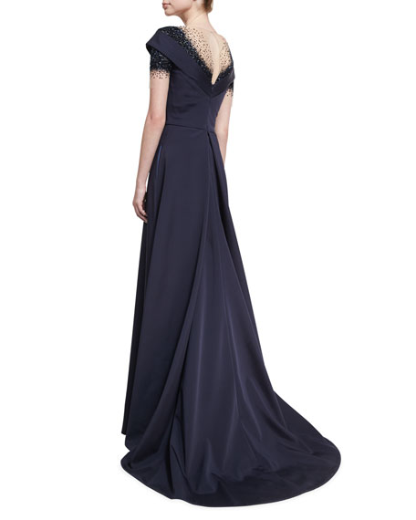 Crystal Dégradé Evening Gown, Navy