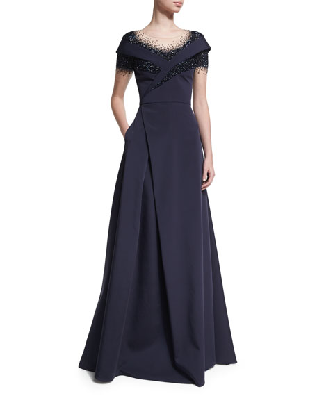 Pamella Roland Crystal Dégradé Evening Gown, Navy