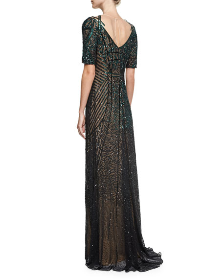 Sequined Chiffon Evening Gown, Green/Black