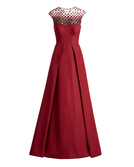 Beaded-Yoke Cap-Sleeve Evening Gown, Red