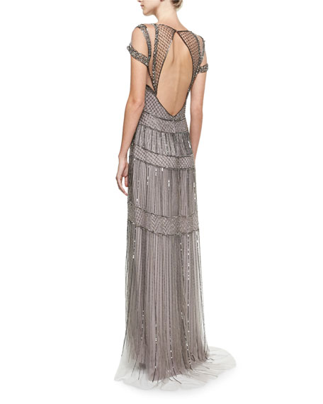 Crystal Beaded Illusion Evening Gown, Gunmetal Gray
