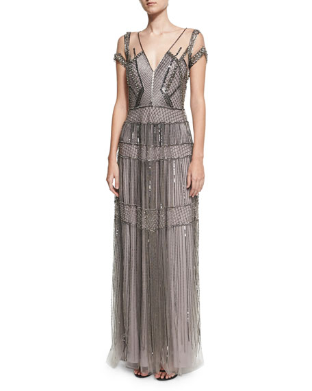 Pamella Roland Crystal Beaded Illusion Evening Gown, Gunmetal