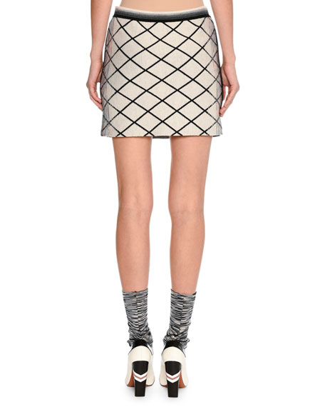 Check Dégradé Jacquard Miniskirt, Beige/Black