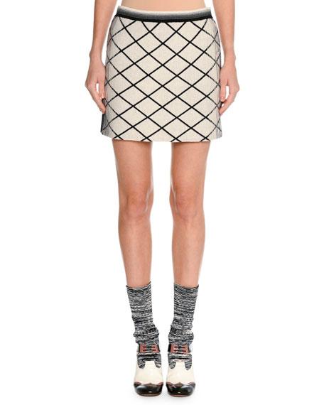 Missoni Check Dégradé Jacquard Miniskirt, Beige/Black