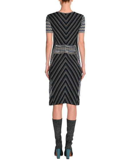 Short-Sleeve Patchwork Jacquard Dress, Blue