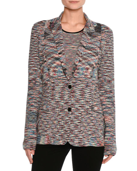 Space-Dye Two-Button Blazer, Multicolor